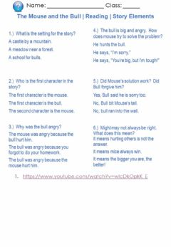 Interactive worksheet The Mouse and the Bull - Reading - Story Elements