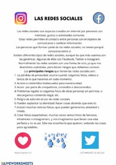 Interactive worksheet Redes sociales