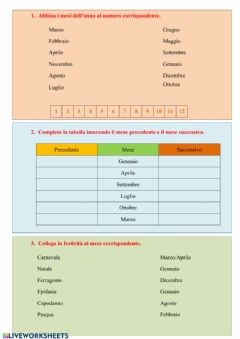 Interactive worksheet I mesi dell'anno - Classe 1