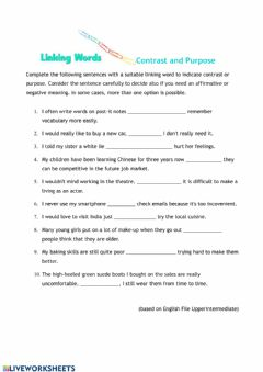 Interactive worksheet Linking Words: Contrast and Purpose