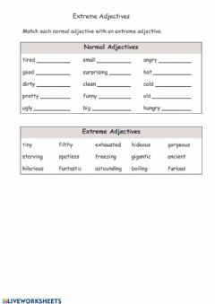 Interactive worksheet Strong adjectives