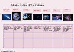Ficha interactiva Celestial bodies of the universe