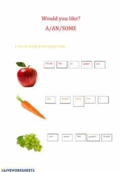 Interactive worksheet -Would you like?- + A-AN-SOME