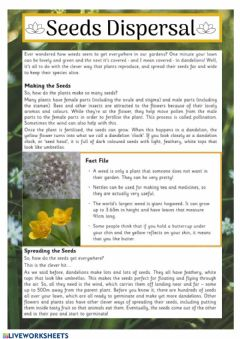 Interactive worksheet Seeds dispersal