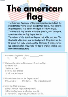 Interactive worksheet Reading: the american flag