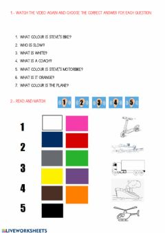 Interactive worksheet Means of transport and the colours