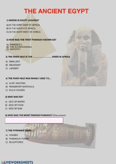 Interactive worksheet The Ancient Egypt