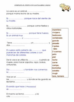 Interactive worksheet Completar descripción vaca