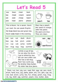 Interactive worksheet Let's read 5