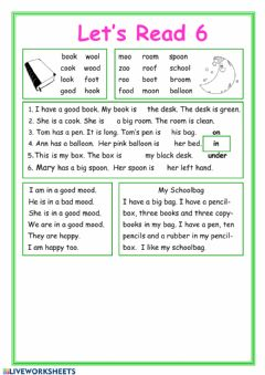 Interactive worksheet Let's read 6