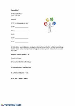 Interactive worksheet Tagesablauf
