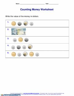 Interactive worksheet Canadian Money