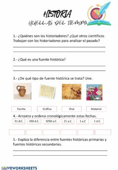 Interactive worksheet Las huellas de la historia