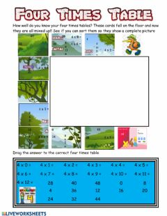 Interactive worksheet Four Times Tables