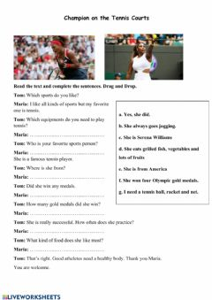 Interactive worksheet My Favorite Sports Person