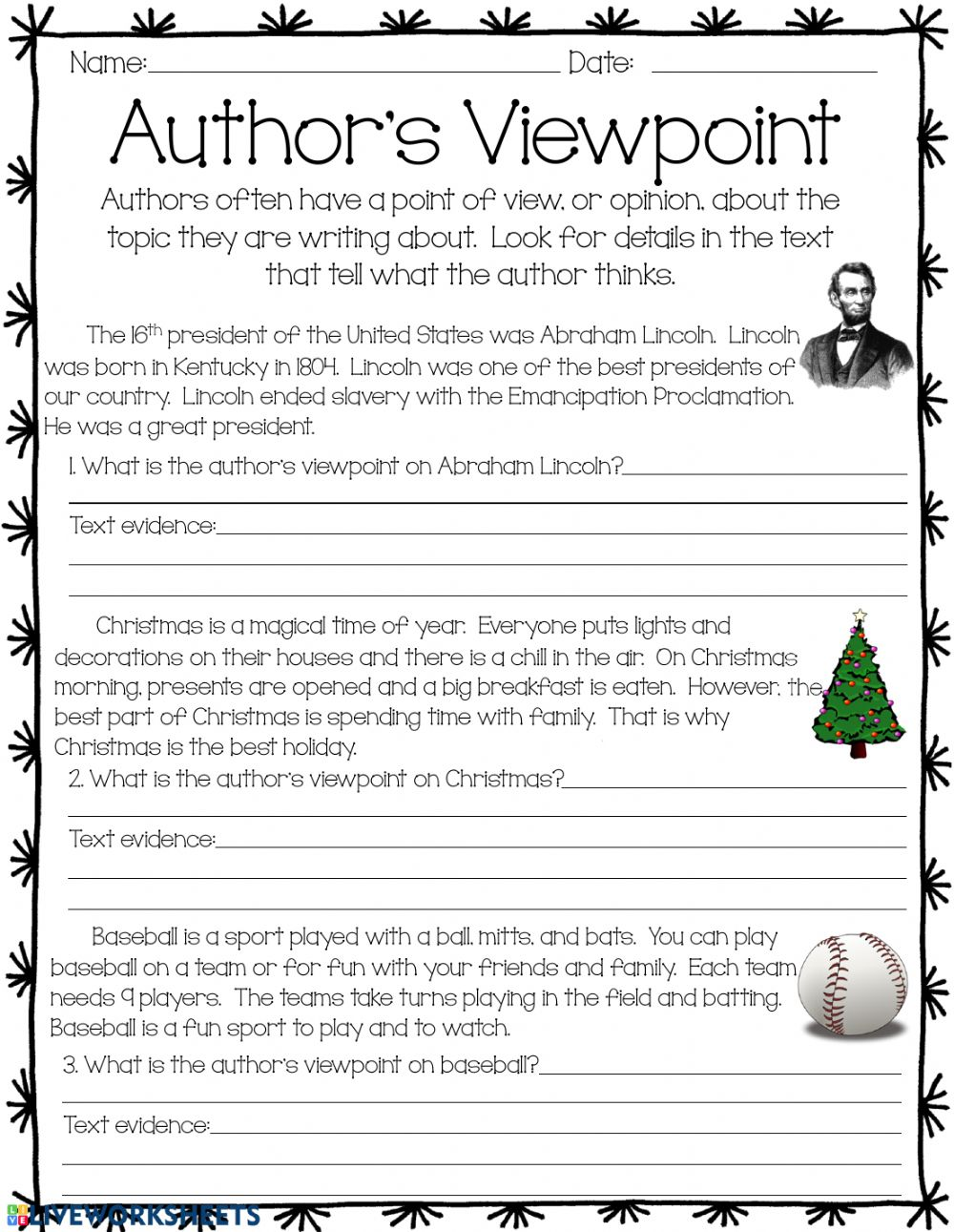 Author S Viewpoint Worksheet
