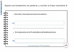 Interactive worksheet Separa palabras 8