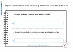 Interactive worksheet Separa palabras 10
