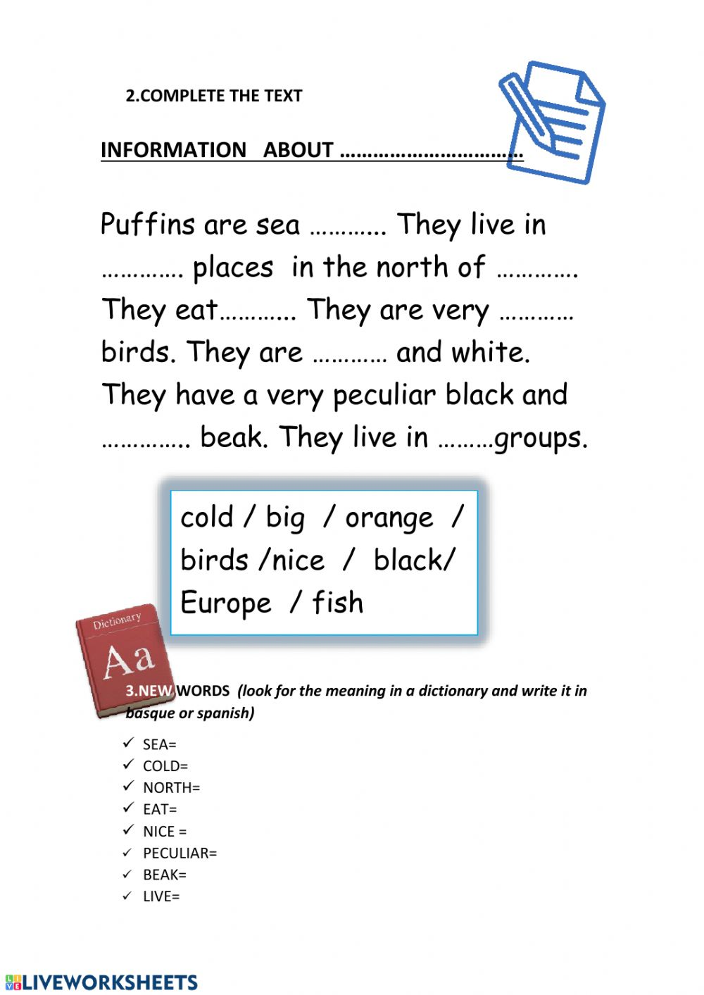 3rd grade Reading comprehension Puffins - Interactive ...