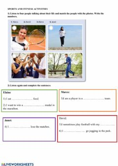 Interactive worksheet Sports and Fitness Activities