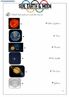 Interactive worksheet Sun, Earth - Moon