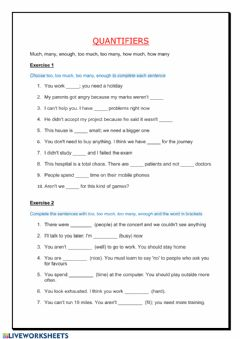 Interactive worksheet Quantifiers