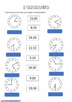Interactive worksheet L'orologio