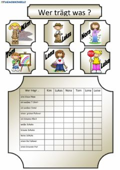 Interactive worksheet Kleidung 1