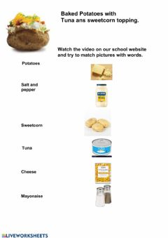 Interactive worksheet Matching words baking potato