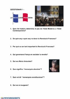 Interactive worksheet LA REVOLUCIÓ FRANCESA
