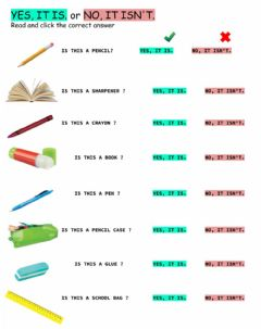 Interactive worksheet Yes, it is or No, it isn't
