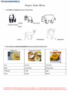 Ficha interactiva South Africa Worksheet