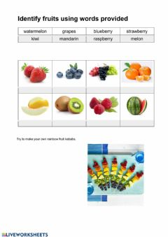 Interactive worksheet Match the fruits