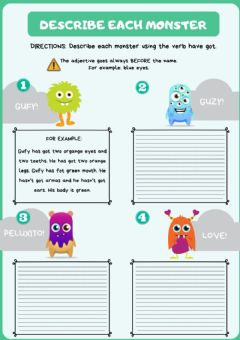 Interactive worksheet The monsters