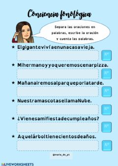 Interactive worksheet Separamos oraciones