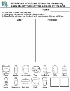 Interactive worksheet Milliliters - Liters