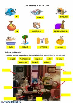 Interactive worksheet Place prepositions