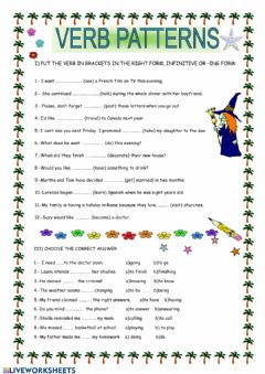 Interactive worksheet To infinitive or ING