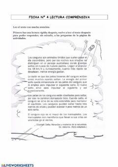 Interactive worksheet Comprensión lectora nº 4
