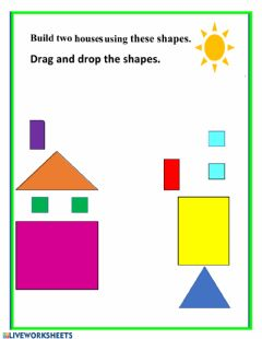 Interactive worksheet Building houses using basic shapes