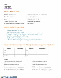 Interactive worksheet Comparative adjectives song