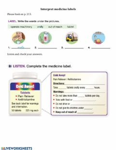 Interactive worksheet Interpret a Medicine Label