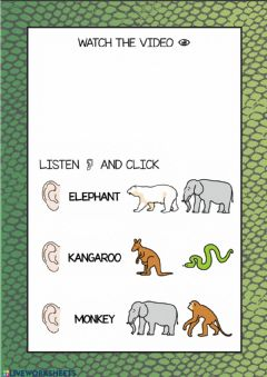 Interactive worksheet Song Let's go to the zoo