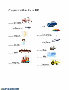 Interactive worksheet Articles A-AN-THE