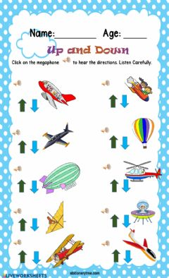 Interactive worksheet Up and Down