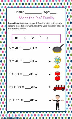 Interactive worksheet The 'an' family