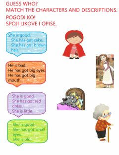 Interactive worksheet Little Red Riding Hood Guess Who