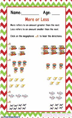 Interactive worksheet More or Less
