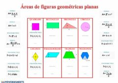 Interactive worksheet Áreas de figuras planas