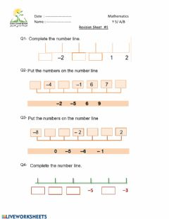 Interactive worksheet Positive and Negative numbers